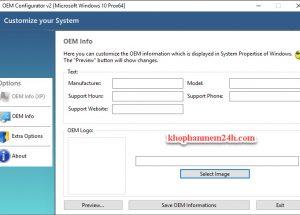 Download OEM Configurator 2.0 – Phần mềm thay đổi thông tin trong System Properties