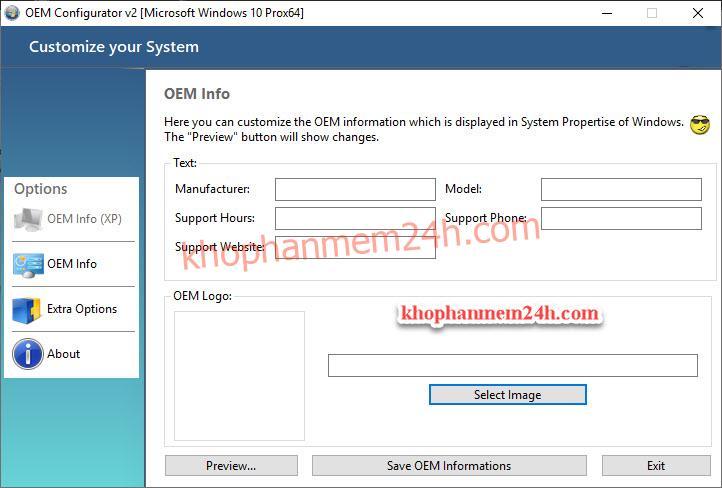 Download OEM Configurator 2.0 - Phần mềm thay đổi thông tin trong System Properties 3