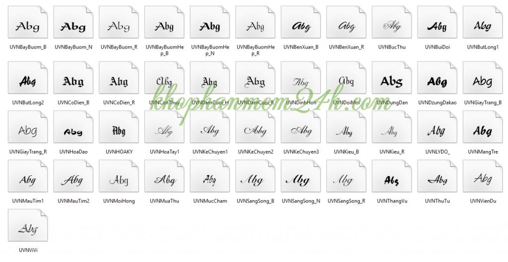 Tải Full font chữ đẹp tiếng việt cho văn phòng và đồ họa thiết kế 5