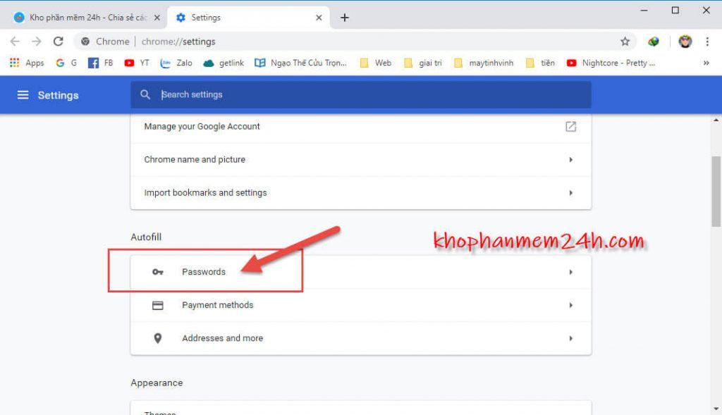 Hướng dẫn cách xem mật khẩu đã lưu trên trình duyệt 2