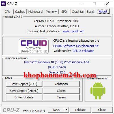 Tải CPU Z 1.87 Free - Phần mềm kiểm tra thông tin phần cứng máy tính chuyên nghiệp 1