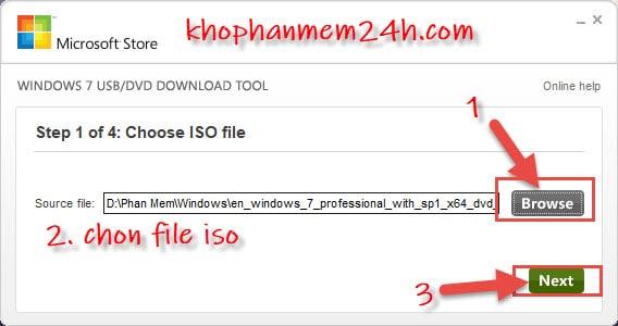 Hướng dẫn cách tạo usb cài win bằng Windows 7 USB/DVD Download Tool 8