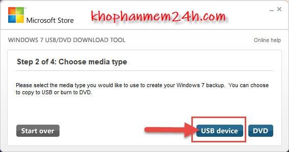 Hướng dẫn cách tạo usb cài win bằng Windows 7 USB/DVD Download Tool 9
