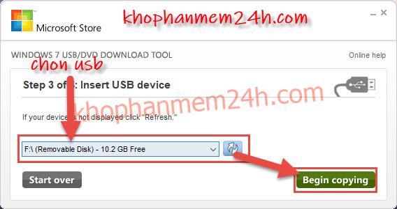 Hướng dẫn cách tạo usb cài win bằng Windows 7 USB/DVD Download Tool 10