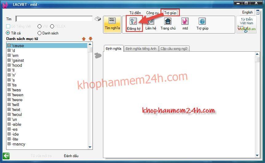 Tải từ điển Lạc Việt MTD9 EVA full key - Phần mềm từ điển tiếng anh 5