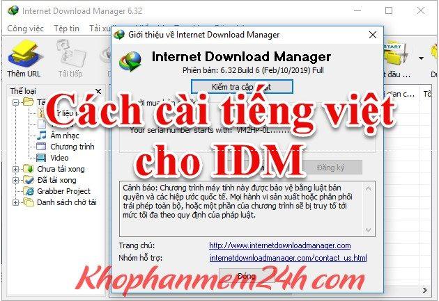Hướng dẫn cách cài tiếng việt cho IDM mọi phiên bản 1