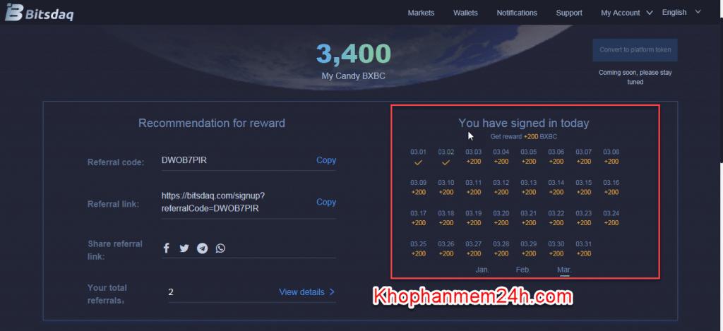 Kiếm tiền online bằng cách đăng ký sàn Bitsdaq nhận coin 1