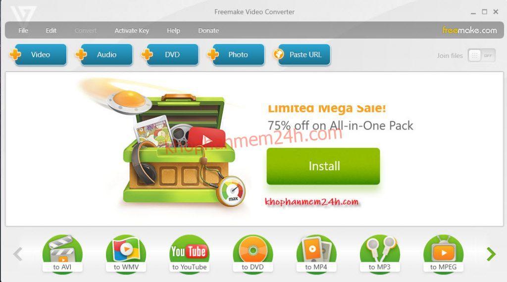 Tải Freemake Video Converter 4.1.10 - Phần mềm đổi đuôi video tốt nhất. 1