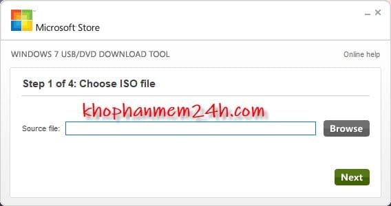 Hướng dẫn cách tạo usb cài win bằng Windows 7 USB/DVD Download Tool 1