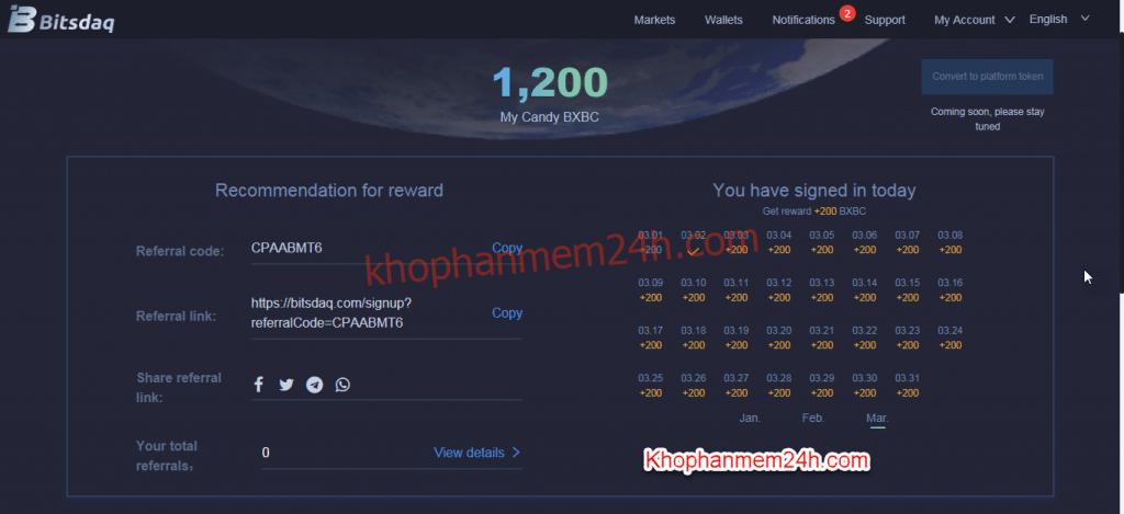 Kiếm tiền online bằng cách đăng ký sàn Bitsdaq nhận coin 4