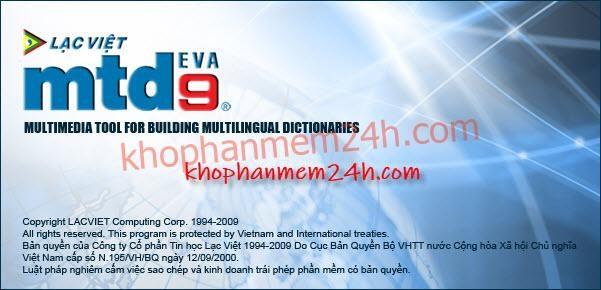 Tải từ điển Lạc Việt MTD9 EVA full key - Phần mềm từ điển tiếng anh 1