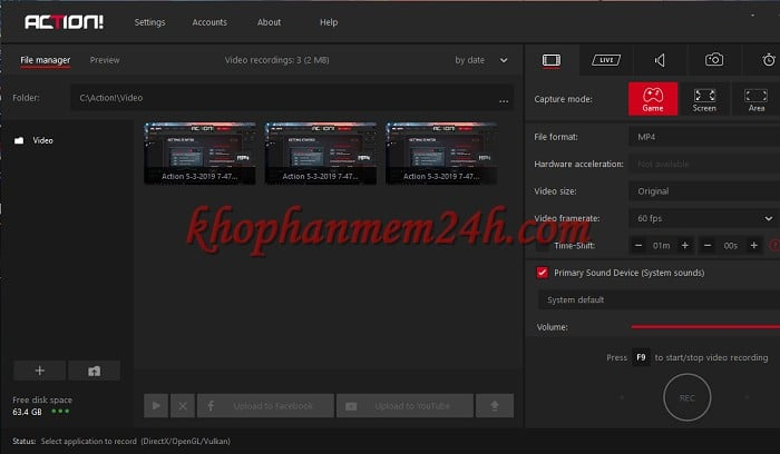 Tải Mirillis Action 3.9 full - Phần mềm quay video màn hình 1