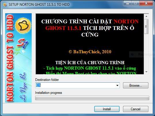 Tích hợp Norton Ghost 11.5 vào HDD – Ghost không cần đĩa boot