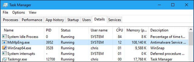 File MsMpEng.exe nằm trên tab Details