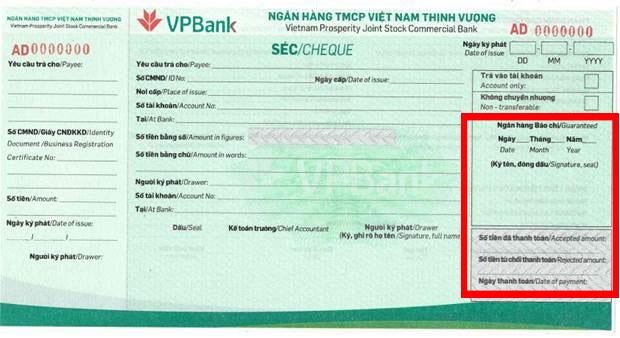 Phần Ngân hàng bảo chi séc VPBank