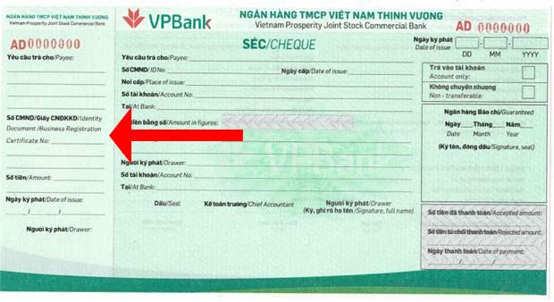 Phần cuống séc VPBank