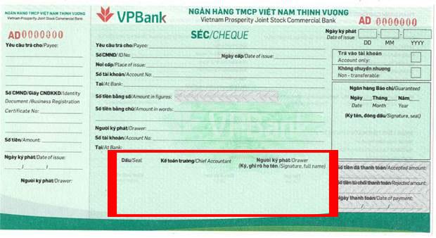 Phần chữ ký và đóng dấu séc VPBank